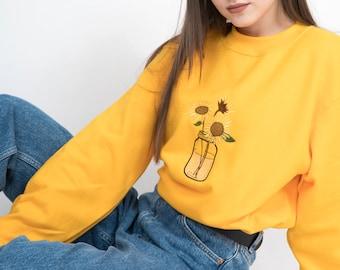 Sunflower Sweatshirt - Aesthetic Clothing, Sunflower Shirt, Embroidered Shirt, Aesthetic Sweatshirt, Yellow Sweatshirt,Grunge,Boho,Festival