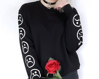 38e20ba052b70 Sad Face Sweatshirt - Aesthetic Clothing - Aesthetic Shirt - Sweatshirt - Tumblr  shirt - Tumblr Clothing - Vaporwave - Grunge - Sad Shirt