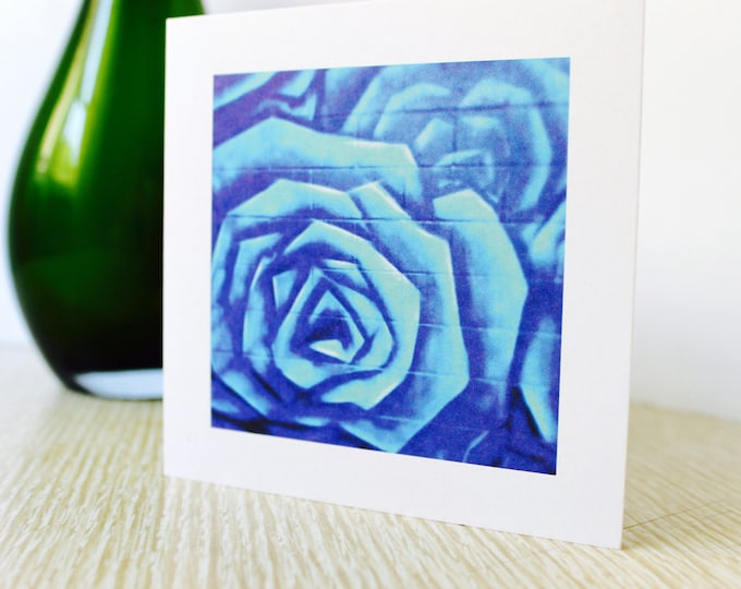 "Any Occasion/Birthday Greeting Card: ""Blue Roses"""