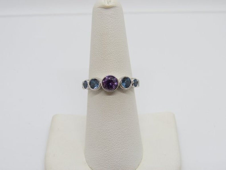Vintage Sterling Silver Round cut Aquamarine /& Amethyst Ring Size 7