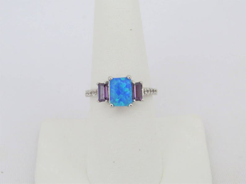 Amethyst /& White Topaz Engagement Ring Size 7 Vintage Sterling Silver Blue Opal
