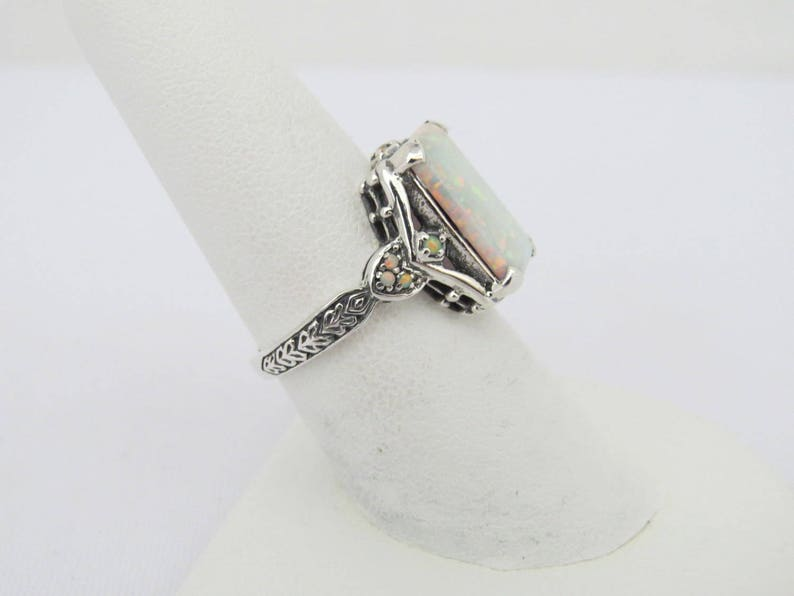 Vintage Sterling Silver White Opal Ring Size 10