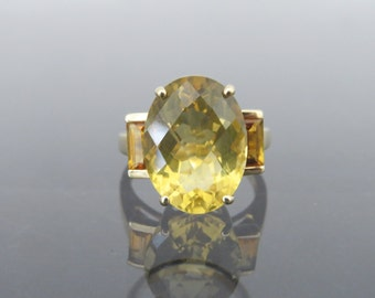 Vintage 10K Solid Yellow Gold 11.1Ct Genuine Golden Citrine Ring Size 7.25