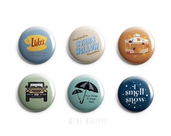 Gilmore Girls Inspired One Inch Pinback Button Set