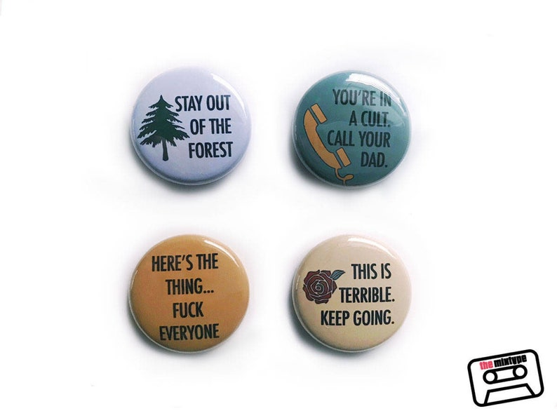 My Favorite Murder One Inch Pinback Button Set image 0