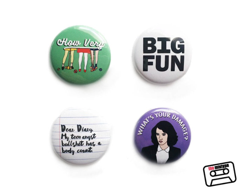 Heathers One Inch Pinback Button Set image 0