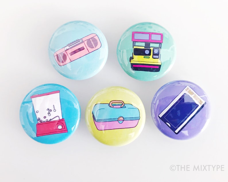 I Love the 80s One Inch Pinback Button Set image 0