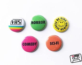 VHS Rental Sticker Pinback Button Set