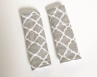 Boxing Day Sale ~ Kate Cover - Grey Car Seat Strap Cover , Girl Car Seat Strap Cover, Stroller Seat Strap Covers,Boy Car Seat Strap Covers