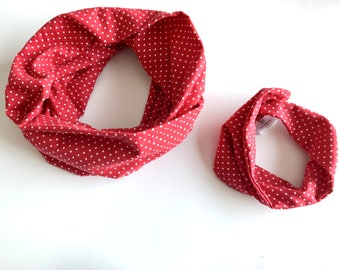 Valentines Day gift ~ Mommy and Me Scarves - red and white Scarves - Polka dot my and me scarf