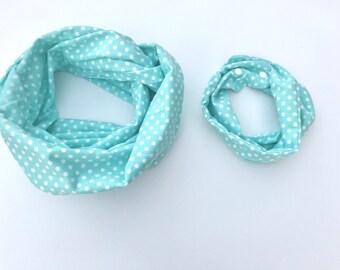 Mommy and Me Scarves - aqua & White polka dot - Aqua my and me scarf - Neutral mommy and me scarves - Mother's day gift - new mom gift