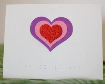 Braille Valentine's Day card