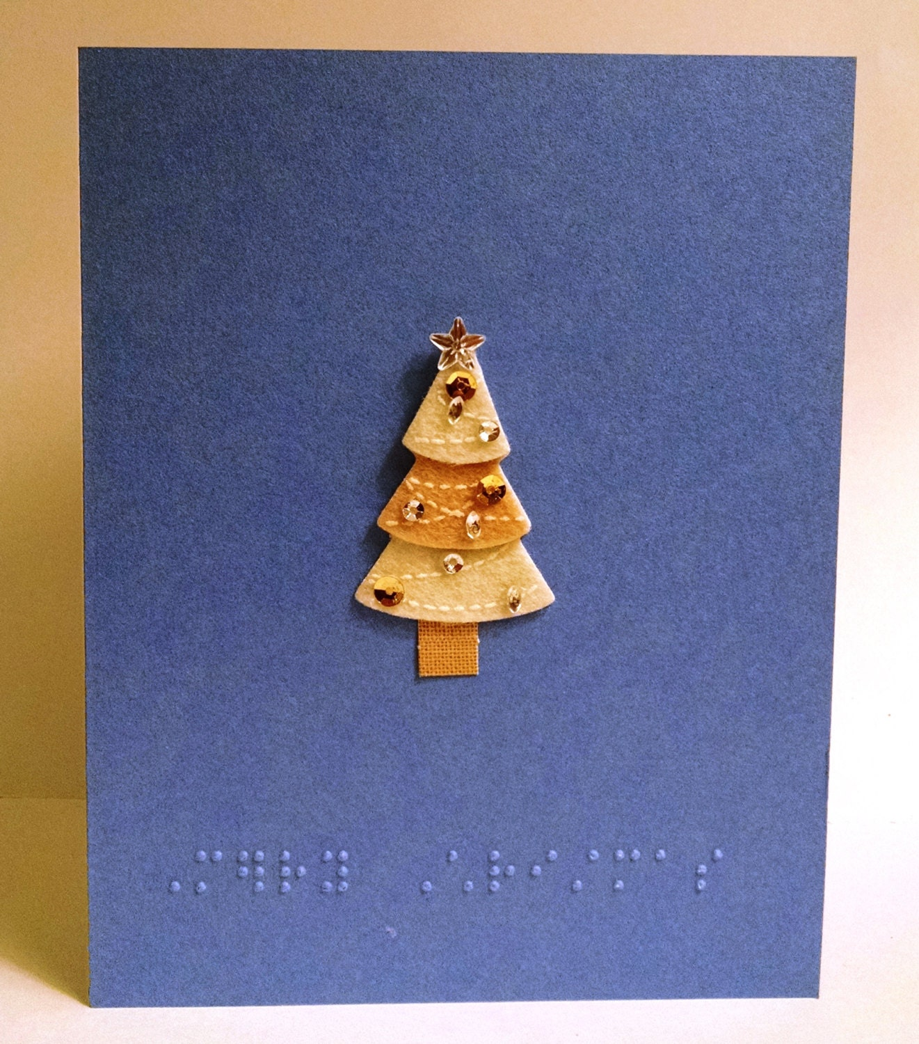 Merry Christmas braille Christmas tree greeting card | Etsy