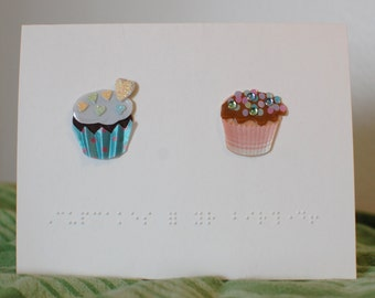 Braille 3D Cupcakes birthday card