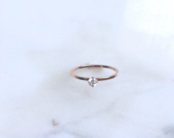 Rose gold stacking ring with cz drop
