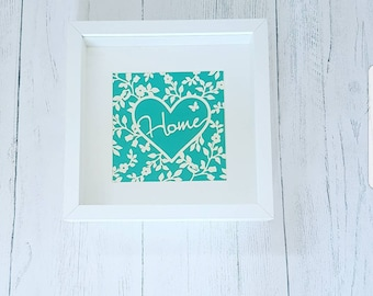 Home papercut,  papercut complete with box frame, various colour options available. New home gift, birthday gift, housewarming gift