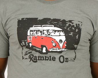 Ramble On T-Shirt (Front Print) // Water-Based Ink // Ringspun Cotton - Poly Blend // Volkswagen Bus // VW