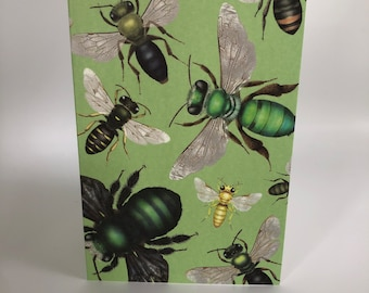 Australian native bees on green cards x 4
