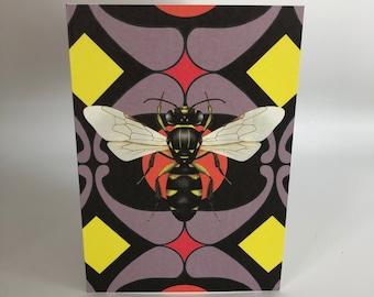 Retro bee cards x 4