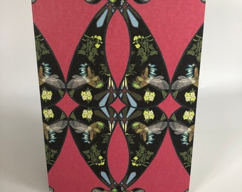 Blue-banded bees on pink cards x 4