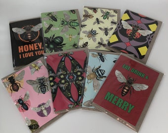 Variety 8-pack of bee cards