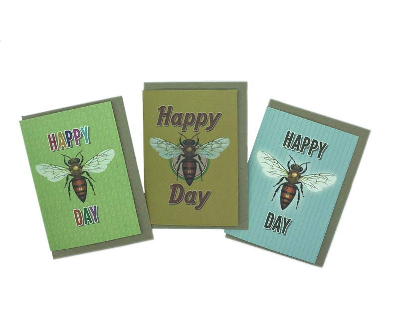 Set of 3 Happy Bee Day cards image 0