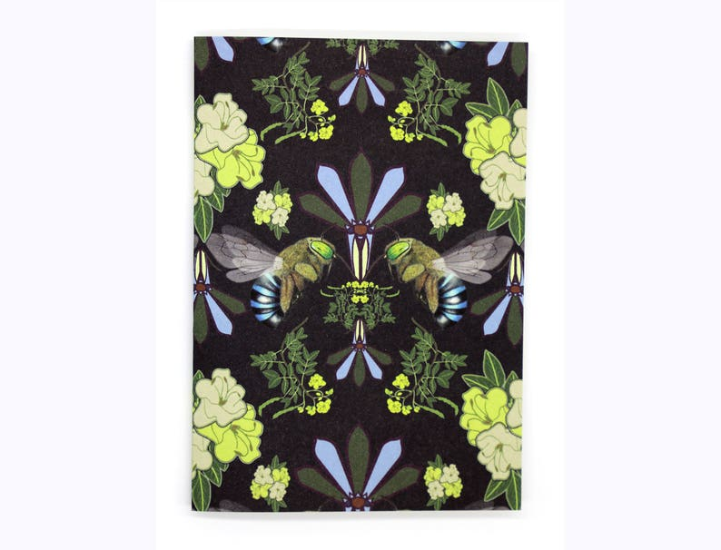 4-pack Blue-Banded Bee cards black image 0