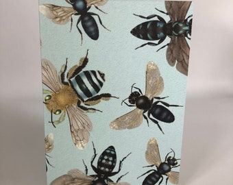 Australian native bees on blue cards x 4