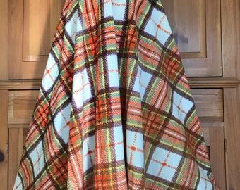 546a1bb34d Vintage Orange plaid Full Maxi Skirt soft Medium 70s