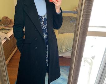 Vintage 80s Reversible Electric Blue and Black Wool Coat