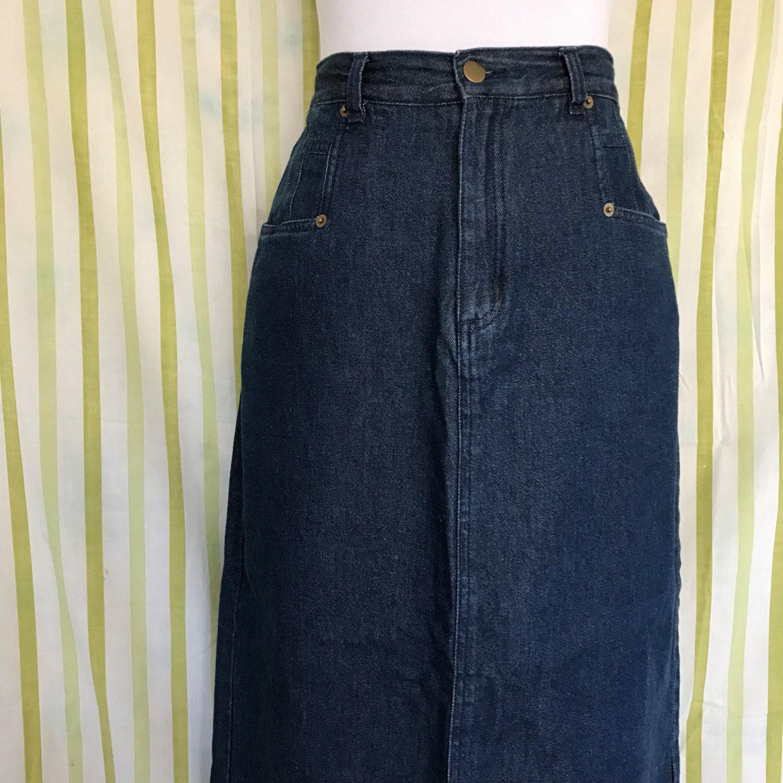Denim Maxi Skirt 90s Long Dark Wash Jean Skirt Medium 8