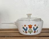 Vintage Corning Ware Country Festival Ceramic Saucepan Pot