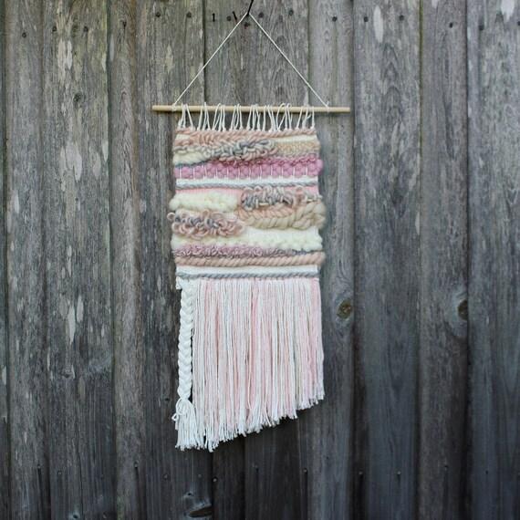 tassel wall decor.htm woven wall hanging boho wall decor pink wall weaving pink etsy  woven wall hanging boho wall decor pink
