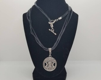 Pentagram Tree of Life Triple Moon Necklace 2.0