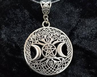 Pentagram Tree of Life Triple Moon Necklace