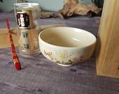 Japanese Tea Set -Chrysanthemum Bowl, Chasen (Bamboo Whisk) and vintage Lacquered Chashaku (Bamboo Tea Scoop) with original Kiriwood Box.