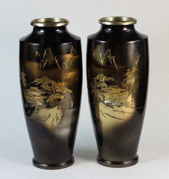 Pair Of Japanese Bronze Vases With Silver And Gold Inlay Etsy