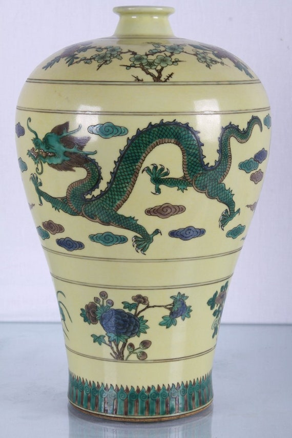 Antique Chinese Dragon Vase Six Character Mark Etsy