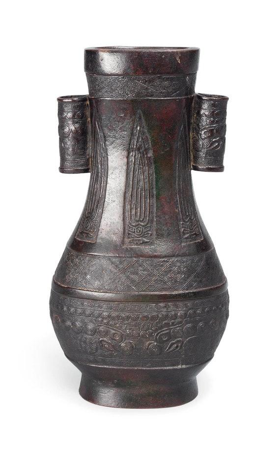 Archaic Bronze Hu Form Arrow Vase Ming Dynasty 1368 1644 Etsy