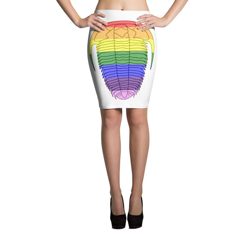 Rainbow Trilobite Pencil Skirt Trilobite Clothing Rockhound Rainbow Fossils Geology Lover Skirt Fossil Skirt Colorful Geology Clothes