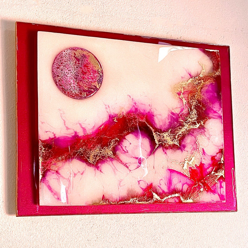 Free Gift mixed media art resin pour wall hanging Fuschania fluid painting abstract art Fuschia and gold resin art 3D Resin painting