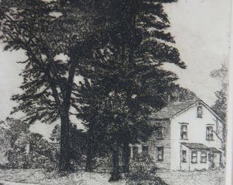 Willow Drive Original Etching 1953 signed illegibly