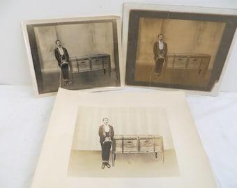 Antique Magic photos Magician tied next to box Houdini like
