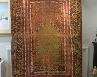 Antique Rug Wall hanging Unusual Colors Handmade very Distressed