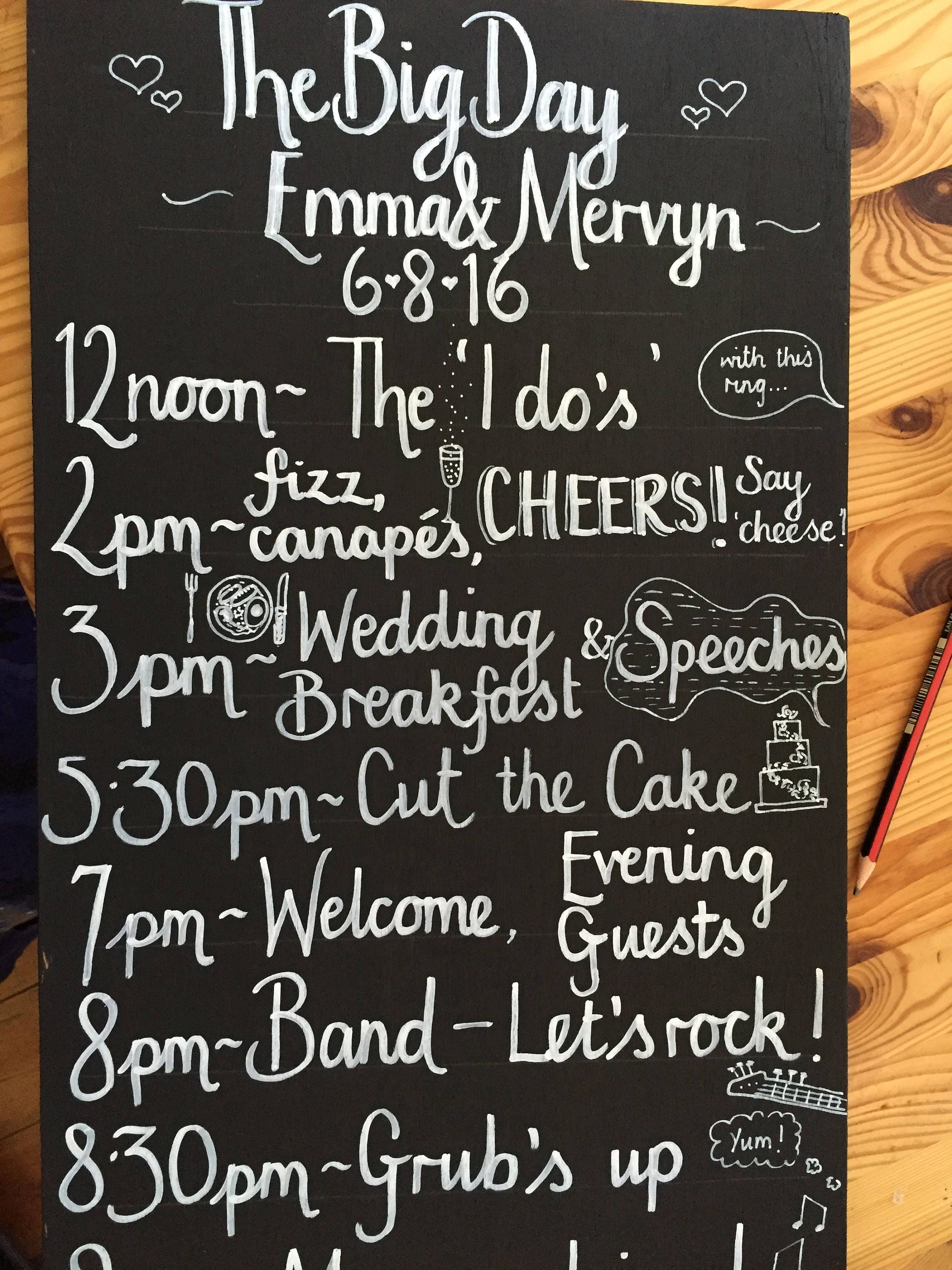 Wedding Order of the Day Blackboard Chalkboard 90x40 handwritten  handlettered venue decor decoration sign unique quirky personalised