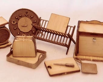 1:24 scale miniature dollhouse vintage kitchen accessories kit