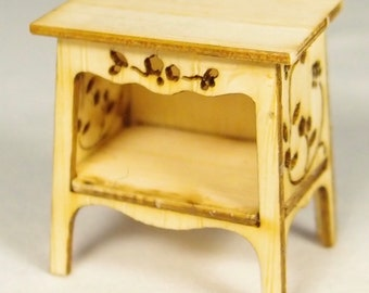 1:24 scale miniature dollhouse furniture kit Nutcote bedside