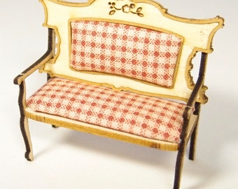 1:24 scale miniature dollhouse furniture kit Nutcote settee
