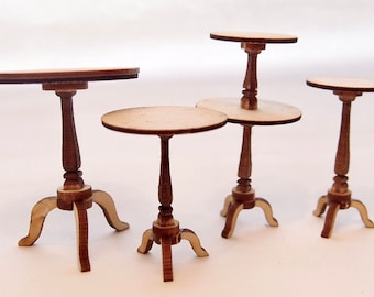 1:24 scale miniature dollhouse furniture kit pedestal table