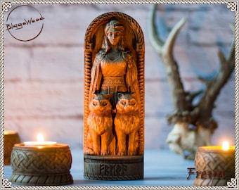 Wooden, Freya, Scandinavian pantheon, viking pagan asatru heathen goddess and god norse gods altar mythology wood sculpture